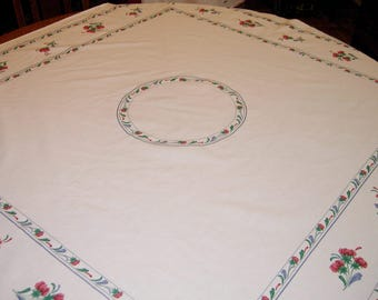 Vintage Tablecloth, White With Floral Pattern, Square
