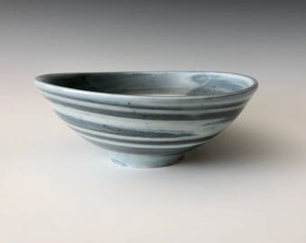 Modern handmade pottery serving bowl wheel thrown blue and white Haight Pottery Company