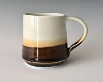 Handmade porcelain Coffee Cup Tea Cup Modern Matte White Grey Gray Coffee Mug Haight Pottery Company