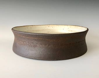 Modern serving bowl fruit bowl décor handmade wheel thrown dark brown clay body matte white glaze Haight Pottery Company