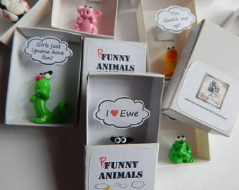 Punny Animals polymer clay charm in a matchbox