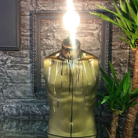 Male body lamp Gold & Black