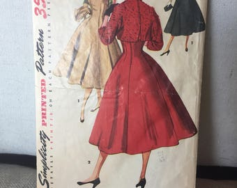 Vintage 1950's one piece jumper dress w full skirt & short jacket - round neck -Simplicity 4759 sewing pattern Women's Misses size 13