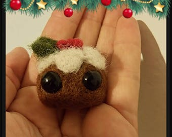 Christmas Pudding,  Needle Felted Cake, Gift, Ornament,Miniature, Home Decoration