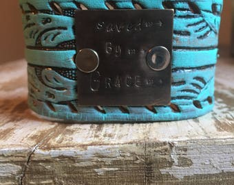 Turquoise Tooled  Leather cuff