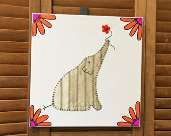 Elephant with Flower #9 Fabric Wall Art