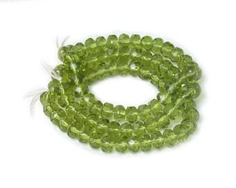Olive Green transparent smaller 3 x 5mm rondelles. Set of 30 or 60.