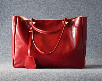 Red Leather Tote Bag - BELLA Ferrari Red – Medium Size Handmade Leather Tote - Red Leather Bag