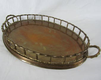 CLEARANCE large vintage brass tray faux bamboo