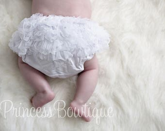 White Ruffled Bloomer, Newborn Bloomer, Baby Bloomer, Bloomer Set, Photo Prop, White Bloomer Black Hair Bow Baby Headband