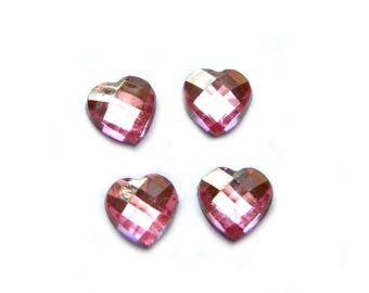 10 Light Pink Crystal Heart Resin Flatbacks - Resin Cabochons