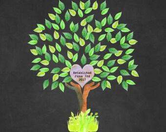 Newlywed Family Tree (Black Background)