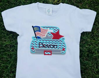 4th of July Truck Shirt, Fourth of July Shirt, Boys Monogrammed Patriotic Shirt