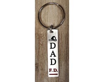 Dad Fire Dept. Key-Chain or Pendent w/ 24 inch 2.7mm ball chain  :  Engraved & Polished Pendent (not hand stamped)