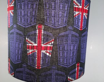 DOCTOR WHO LAMPSHADE Drum Lamp Shade Tardis Blue British Flag Police Box Fabric Time Lord from Gallifrey Time Traveller Purple Red 8 inches