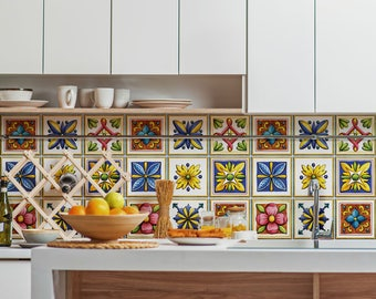 Piastrelle vietri etsy for Rivestimenti cucina adesivi