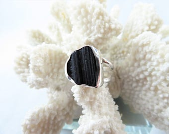 Raw Black Tourmaline Sterling Ring - Size 8.25