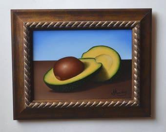 Original 5x7' acrylic avocado slice painting, small still life painting, tiny artwork, vegetable painting, kitchen painting, food miniature