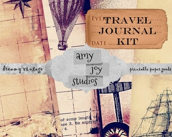Vintage Journal  Travel Journal  Junk Journal Vintage  Digital Journal Kits   printable journal cards  printable journal pages  sailor