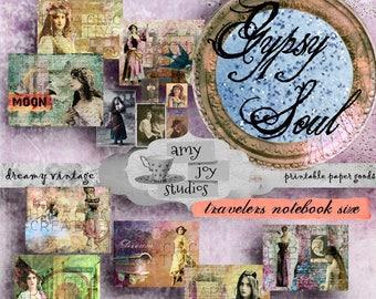 Gypsy Soul  TRAVELERS NOTEBOOK  Midori Insert  Travelers Notebook Kit  Midori insert printable  boho journal  digital paper vintage  gypsy