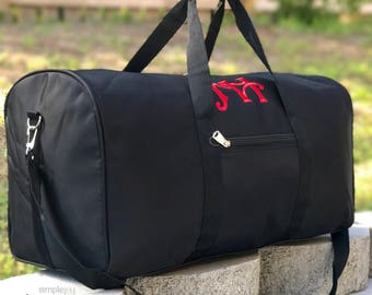 Solid Black DUFFLE Bag, Monogrammed Overnight bag, black luggage, Boy duffle Bag, Men Duffle Bag, Women Duffle Bag, Gym bag, Sports Bag
