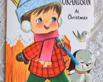 Vintage Christmas Card - Little Boy Grandson with Puppy - Used