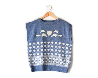 SALE Vintage wool periwinkle sweater vest | fits many