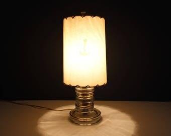 Vintage Glass Lamp with Fiberglass Drum Shade, Marine Signal Ship's Lantern Lamp, Nautical Lamp, Art Deco Lamp, Small Lamp with Shade