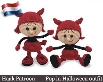 158NLY Haak patroon - Pop in  Halloween outfit - Amigurumi PDF file by Stelmakhova Etsy