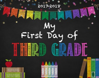 Back to School Sign - INSTANT Download - 3rd Grade Printable - First Day of School Sign - Kids Photo Prop - Back to School 2017 - Chalkboard