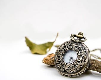 1 Pocket Watch Necklace Watch Wedding Gift Watch Clock Watch Wedding Gift Flower Watch-C103