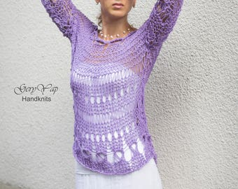 Hand knit summer lavender sweater grunge 55% cotton loose knit handmade boho style, Ready to ship