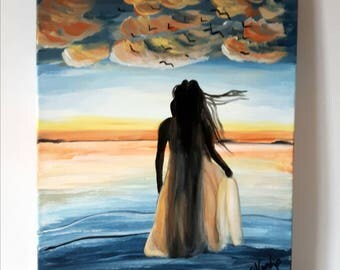 Sunset painting on canvas, silhouette art