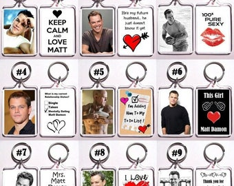 ON SALE NOW Matt Damon Keychain Key Ring - Many Designs To Choose From