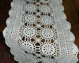Table runner. Large doily size 127 x 36 cm, vintage 1950's. old french Embroidery