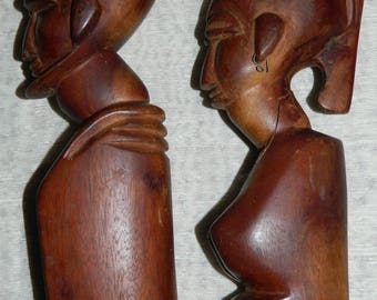 African statuettes carved wooden, Vintage 1980s from FRANCE