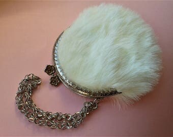Faux Fur Purse in White \ Birthday's Gift Idea \ Valentine's Gift Idea \ Wedding