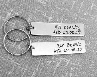 Couples Keyring - His Beauty , Her Beast Keyrings Initials & Date - Couples Gift - Couples Keyrings - Gift For Her - Gift For Him