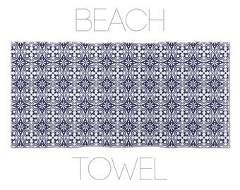 Vintage Design Beach Towel, Blue Towels, Large Beach Towel, Hotel Towels, Bath Decor, Designer Beach Towels, Unique Fabric Towel