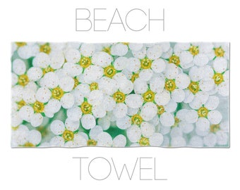 Beach Towel White Flowers, Floral Towels, Floral Decor, Bath Linen, Girls Beach Towels, Hotel Towel, Summer Accessory