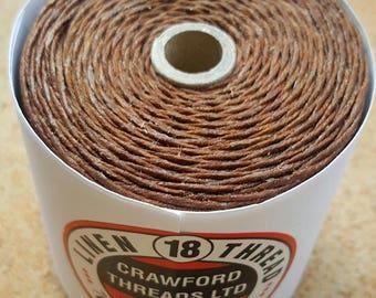 Crawford Waxed Linen Thread 7 Ply, 125 Gram Spool - WALNUT BROWN