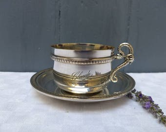 Lovely French vintage silver plated tea / coffee cup and saucer with dragon handle and maker marks, circa 1920, Art Deco.