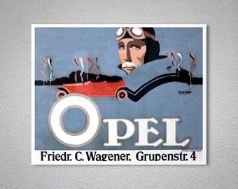 Opel Vintage Car Poster - Poster Paper, Sticker or Canvas Print