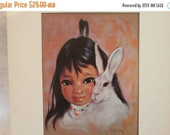 "SALE Vintage Eukabi Old Albuquerque New Mexico Playmates 7"" by 9"" Lithograph - Gerda Christoffersen, Child with Rabbit"