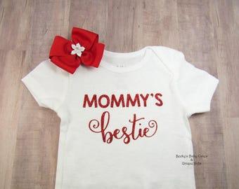 Mommy's Bestie, Baby Girl Onesie, Mommy's Girl Onesie, Mommy's BFF, Mother's Day Gift, Mommy Onesie, Sibling Shirt, Coming Home Onesie,