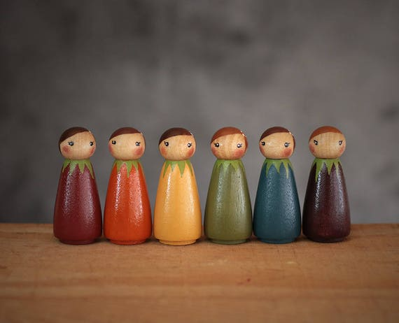 Fall Peg Doll Set Rainbow Peg Dolls Hand Painted Peg Dolls