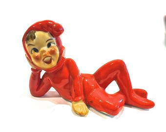 Vintage Bisque Pixie, Christmas Elf, Laying down, Ankles Crossed, Ceramic Figurine, Red Suit, Collectible Figurine, Made In Japan, 1950s
