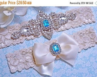 ON SALE Aqua Blue Wedding Garter,  Wedding Garter w/ toss - Blue Garter, Something Blue, Crystal Garters, Bridal Garter, Rhinestone Garter