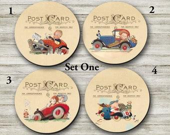 Coasters - Cute Vintage Cars, Vintage Kids Cars, Coaster, Vintage Kids - (0002)