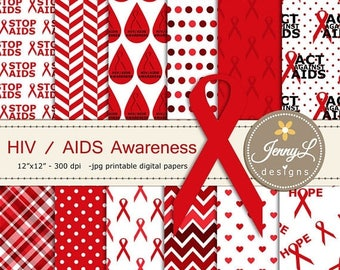 50% OFF AIDS HIV Awareness Digital Papers and Clipart, Red Ribbon for Digital Scrapbooking, Invitations, Signage, Planner